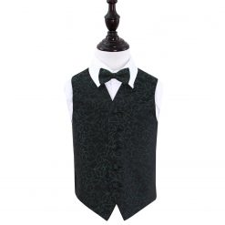 Black & Green Swirl Wedding Waistcoat & Bow Tie Set for Boys