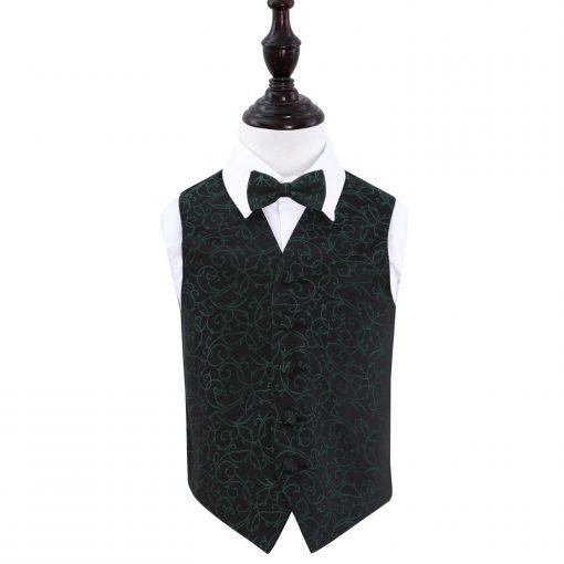 Black & Green Swirl Wedding Waistcoat & Bow Tie Set for Boys