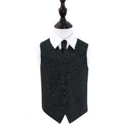 Black & Green Swirl Wedding Waistcoat & Cravat Set for Boys