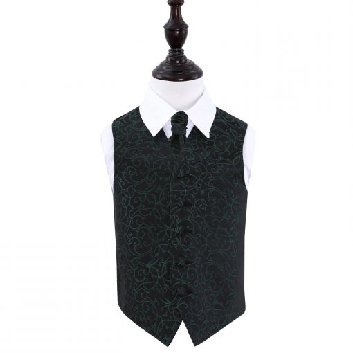 Black & Green Swirl Wedding Waistcoat & Cravat Set for Boys