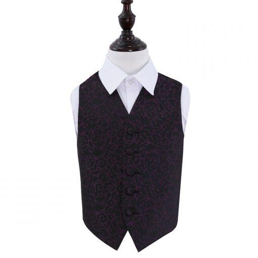 Black & Purple Swirl Wedding Waistcoat for Boys