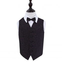 Black & Purple Swirl Wedding Waistcoat & Bow Tie Set for Boys