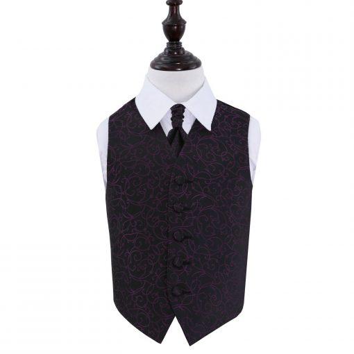 Black & Purple Swirl Wedding Waistcoat & Cravat Set for Boys