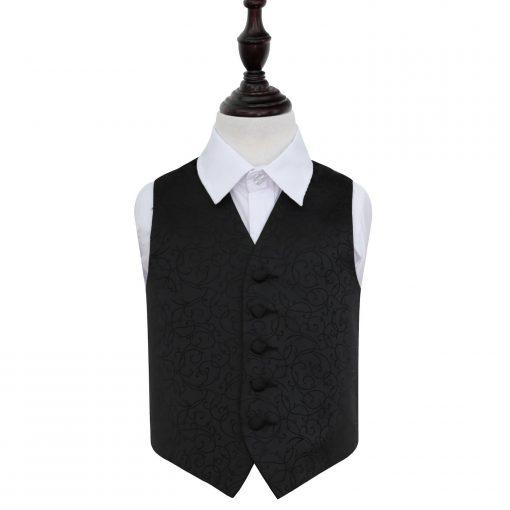 Black Swirl Wedding Waistcoat for Boys