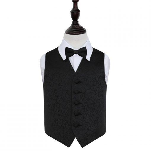 Black Swirl Wedding Waistcoat & Bow Tie Set for Boys