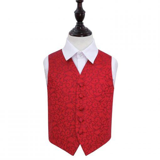 Burgundy Swirl Wedding Waistcoat for Boys