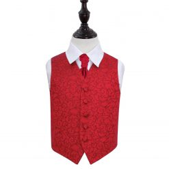 Burgundy Swirl Wedding Waistcoat & Cravat Set for Boys