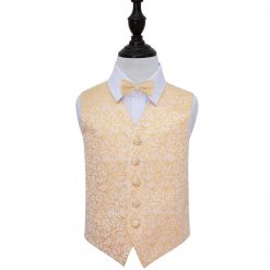 Gold Swirl Wedding Waistcoat & Bow Tie Set for Boys