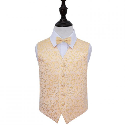 Gold Swirl Wedding Waistcoat & Bow Tie Set for Boys