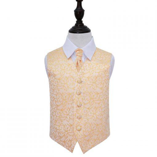 Gold Swirl Wedding Waistcoat & Cravat Set for Boys