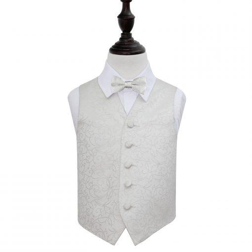 Ivory Swirl Wedding Waistcoat & Bow Tie Set for Boys