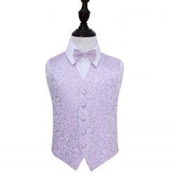 Lilac Swirl Wedding Waistcoat & Bow Tie Set for Boys