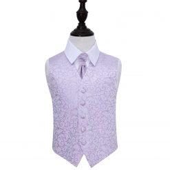 Lilac Swirl Wedding Waistcoat & Cravat Set for Boys