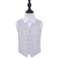 Silver Swirl Wedding Waistcoat for Boys