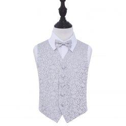 Silver Swirl Wedding Waistcoat & Bow Tie Set for Boys