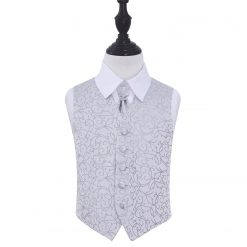 Silver Swirl Wedding Waistcoat & Cravat Set for Boys