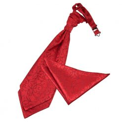 Burgundy Swirl Wedding Cravat & Pocket Square Set