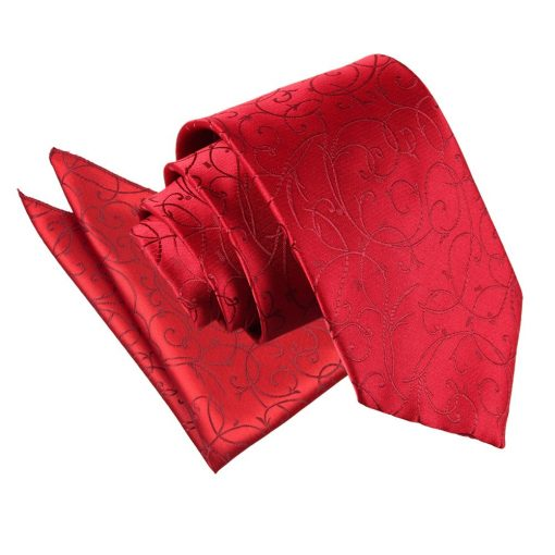 Burgundy Swirl Tie & Pocket Square Set