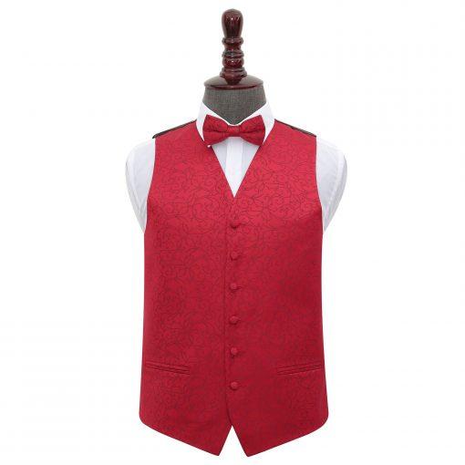Burgundy Swirl Wedding Waistcoat & Bow Tie Set