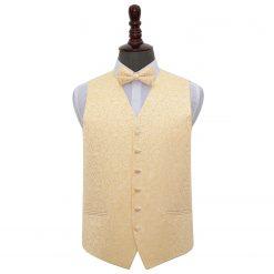 Gold Swirl Wedding Waistcoat & Bow Tie Set