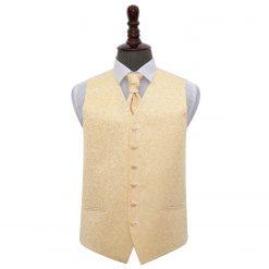 Gold Swirl Wedding Waistcoat & Cravat Set