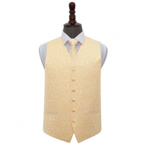 Gold Swirl Wedding Waistcoat & Tie Set