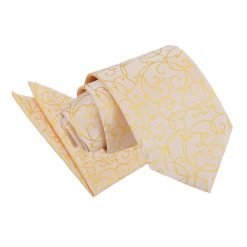 Gold Swirl Tie & Pocket Square Set