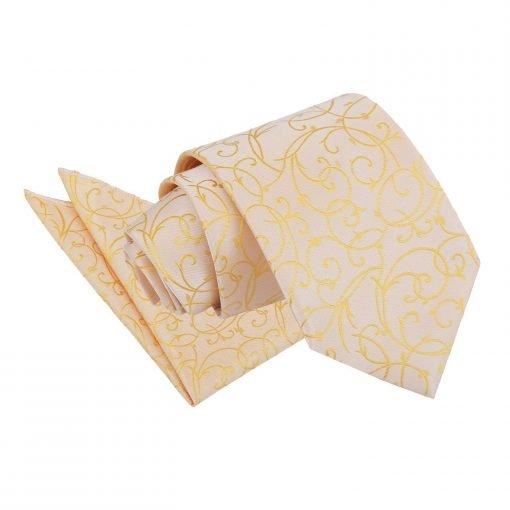 Gold Swirl Tie & Pocket Square Set