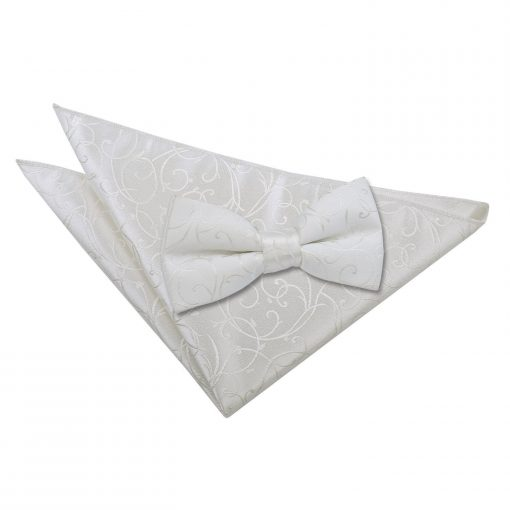 Ivory Swirl Bow Tie & Pocket Square Set