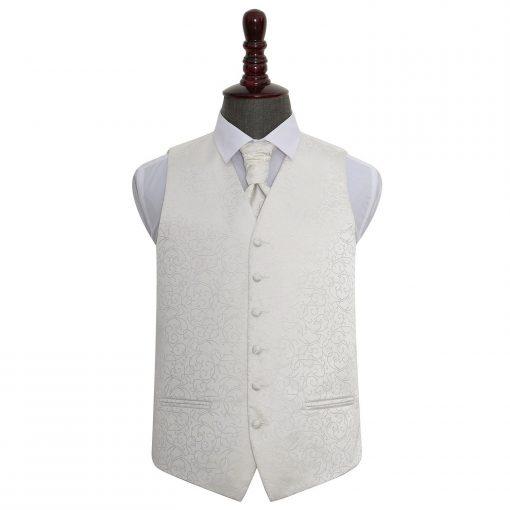 Ivory Swirl Wedding Waistcoat & Cravat Set