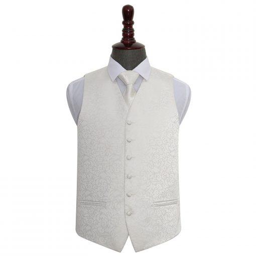 Ivory Swirl Wedding Waistcoat & Tie Set