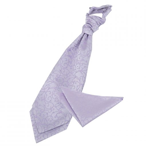 Lilac Swirl Wedding Cravat & Pocket Square Set
