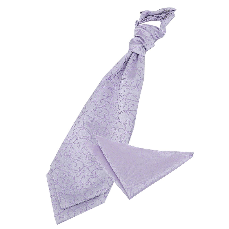 DQT Woven Swirl Lilac Formal Wedding Pre-Tied Boys Cravat