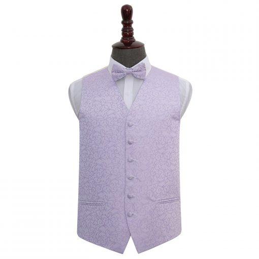 Lilac Swirl Wedding Waistcoat & Bow Tie Set