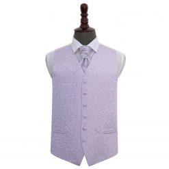 Lilac Swirl Wedding Waistcoat & Cravat Set