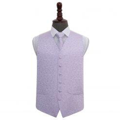 Lilac Swirl Wedding Waistcoat & Tie Set