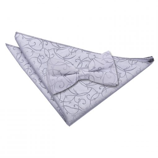 Silver Swirl Bow Tie & Pocket Square Set