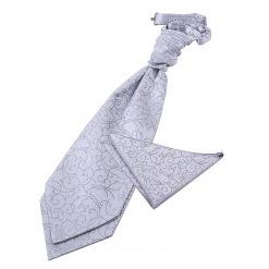 Silver Swirl Wedding Cravat & Pocket Square Set