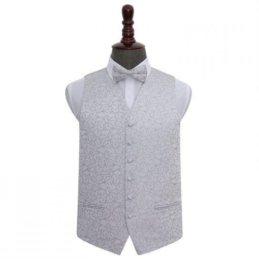 Silver Swirl Wedding Waistcoat & Bow Tie Set