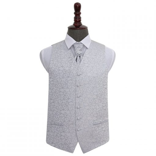 Silver Swirl Wedding Waistcoat & Cravat Set