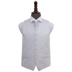 Silver Swirl Wedding Waistcoat & Tie Set