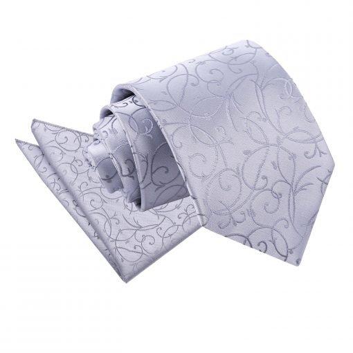 Silver Swirl Tie & Pocket Square Set