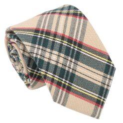 Beige Tartan Plaid Modern Classic Tie