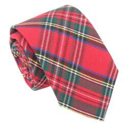 Red Royal Stewart Tartan Plaid Modern Classic Tie