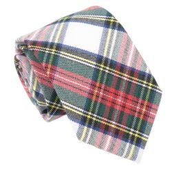 White Tartan Plaid Modern Classic Tie