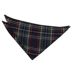 Black & Green w/ Thin Stripes Tartan Handkerchief/Pocket Square