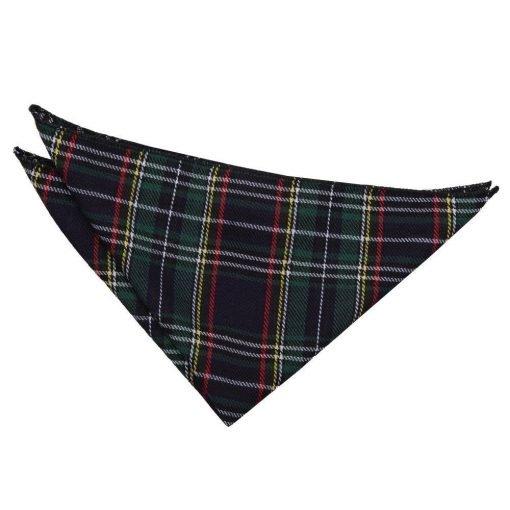 Black & Green w/ Thin Stripes Tartan Handkerchief/Pocket Square