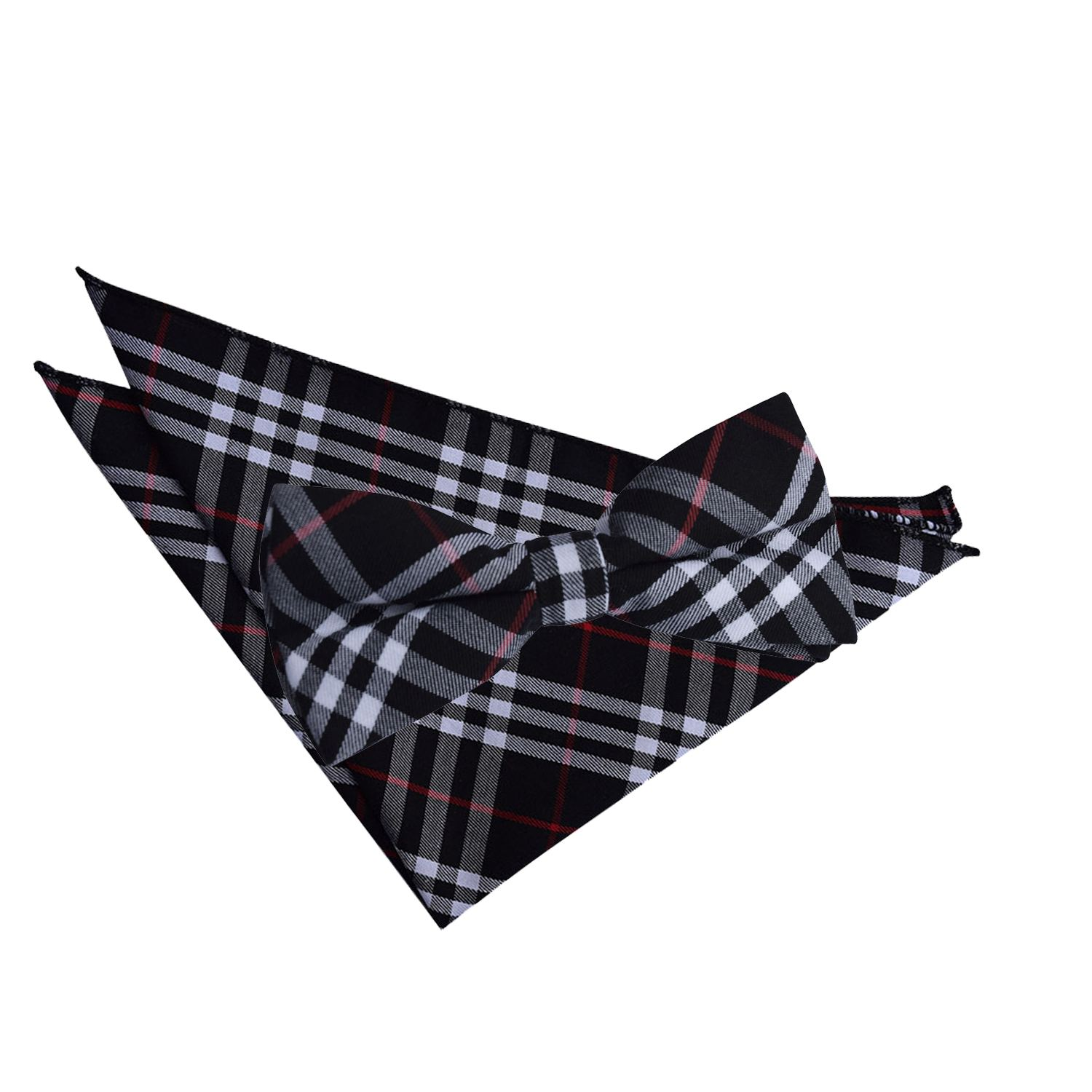 2c9d57503dc8 Black & Green with Red Tartan Bow Tie & Pocket Square Set