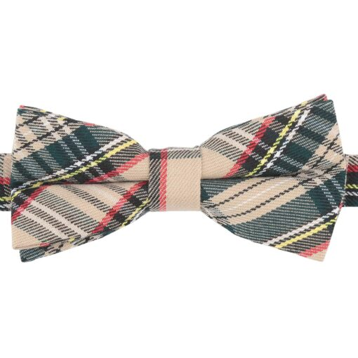 Beige Tartan Plaid Bow Tie