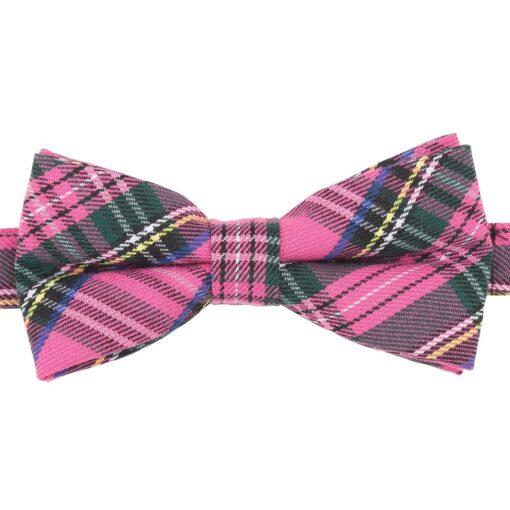 Pink Tartan Plaid Bow Tie